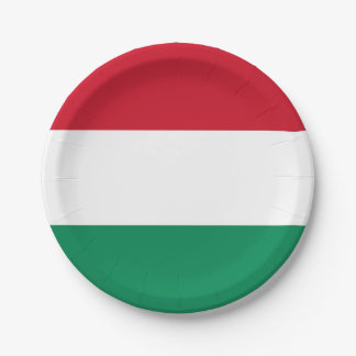 Patriotic paper plate with flag of Hungary