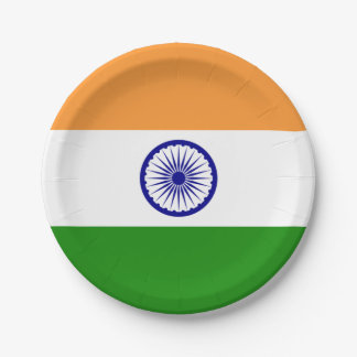 Patriotic paper plate with flag of India
