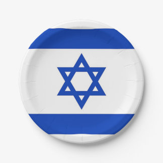 Patriotic paper plate with flag of Israel