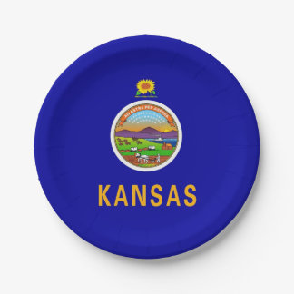 Patriotic paper plate with flag of Kansas