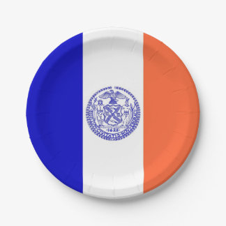 Patriotic paper plate with flag of New York City