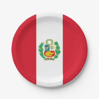 Patriotic paper plate with flag of Peru