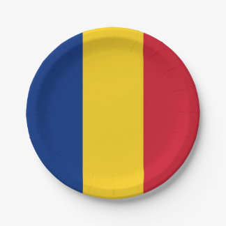 Patriotic paper plate with flag of Romania