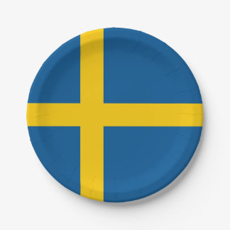 Patriotic paper plate with flag of Sweden