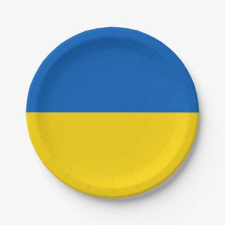 Patriotic paper plate with flag of Ukraine