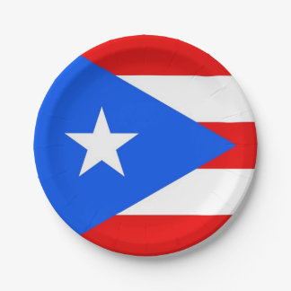 Patriotic paper plate with Puerto Rico flag