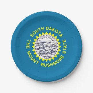 Patriotic paper plate with South Dakota flag