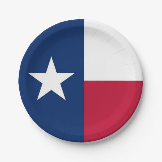 Patriotic paper plate with Texas flag