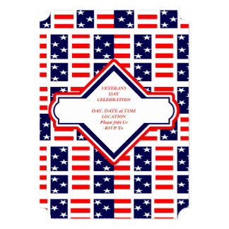 Patriotic Patchwork Veterans Day Party Invite