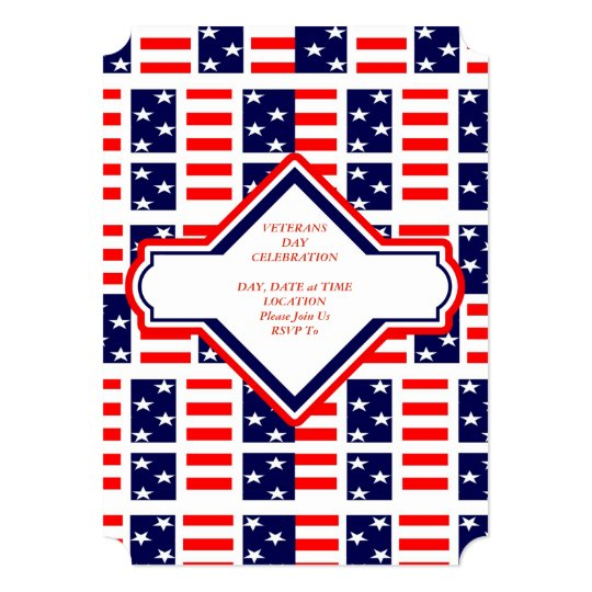 Patriotic Patchwork Veterans Day Party Invite | Zazzle