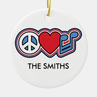 Patriotic Peace Love Music Round Ceramic Ornament