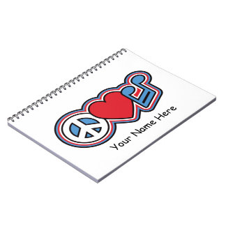 Patriotic Peace Love Music Spiral Notebook