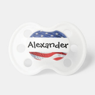 Patriotic Personalized Name Stars and Stripes USA Baby Pacifier