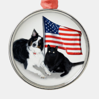 Patriotic Pets Gifts, Aussie and Cat Metal Ornament