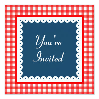 Patriotic Picnic BBQ Summer Gingham Invitations