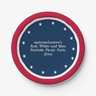 Patriotic Picnic Party Personalized Paper Plates