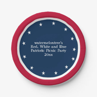 Patriotic Picnic Party Personalized Paper Plates 7 Inch Paper Plate