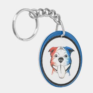 Patriotic Pit Bull Keychain