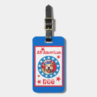 Patriotic Pit Bull Terrier Bag Tags