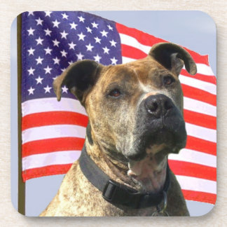 Patriotic pitbull dog coaster