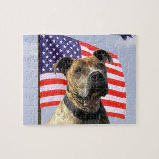 Patriotic pitbull dog jigsaw puzzle