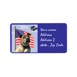Patriotic pitbull dog label