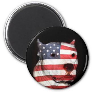 Patriotic pitbull face magnet