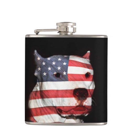 Patriotic pitbull hip flasks