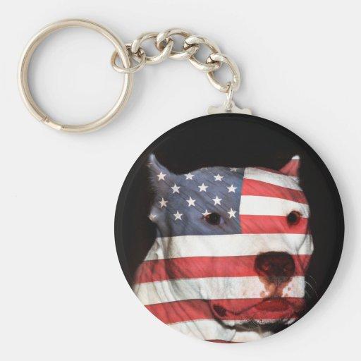 Patriotic pitbull key chain