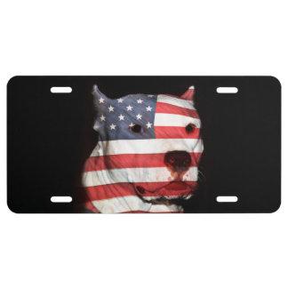 Patriotic pitbull license plate
