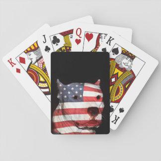 Patriotic pitbull playing cards