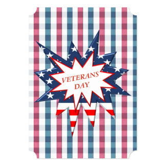 Patriotic Plaid Veterans Day Party Invite