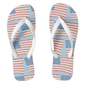 Patriotic Pointillism U.S. Flag Custom FlipFlops Flip Flops