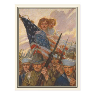 Patriotic Postcard with WWII Propaganda Poster
