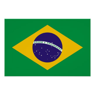 Patriotic poster with Flag of Brazil Perfect Poster