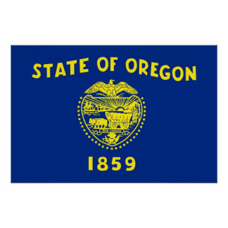 Patriotic poster with Flag of Oregon Perfect Poster