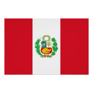 Patriotic poster with Flag of Peru Perfect Poster