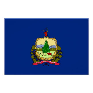 Patriotic poster with Flag of Vermont Perfect Poster