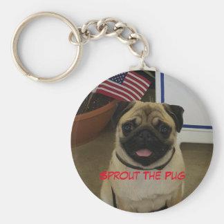 Patriotic Pug Basic Round Button Keychain