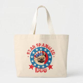 Patriotic Pug Large Tote Bag