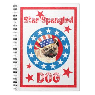 Patriotic Pug Spiral Note Book