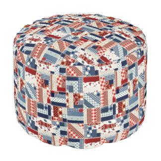 Patriotic Quilt Sturdy Spun Polyester Round Pouf