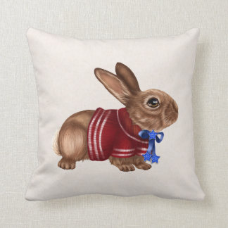 Patriotic Rabbit throw Pillow