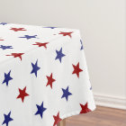 Patriotic Red and Blue Stars on White Tablecloth