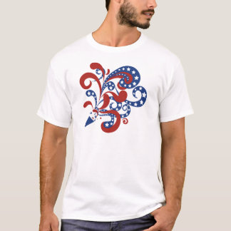 Patriotic Red and Blue Streamers with Stars T-Shir T-Shirt