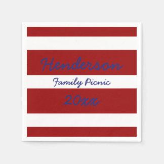 Patriotic Red and White Stripe Disposable Napkin
