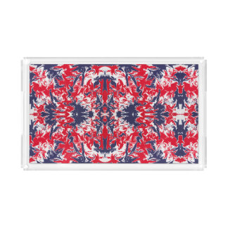 Patriotic red, white and blue abstract pattern acrylic tray