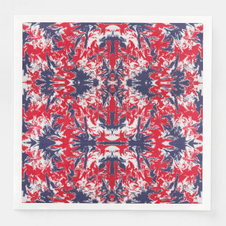 Patriotic red, white and blue abstract pattern paper napkins