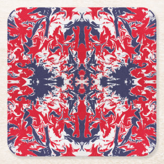 Patriotic red, white and blue abstract pattern square paper coaster