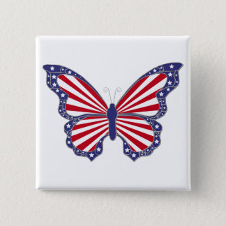 Patriotic Red White And Blue Butterfly Button